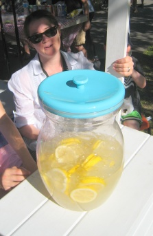 Several batches of lemonade to keep up with demand
